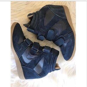 Steve Madden Hilight Shoes Hi Top Wedge Blue Suede